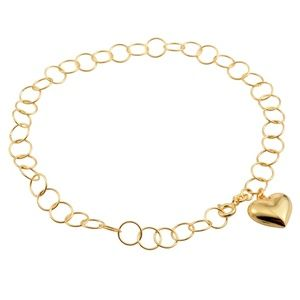 """Jewelry - NEW 14K YG Over Sterling Silver 10"""" Heart Anklet"""